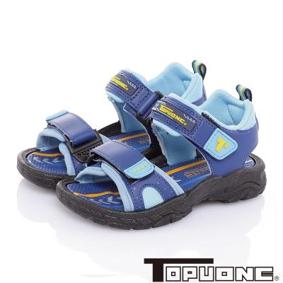 TOPUONE 舒適輕量減壓吸震防滑休閒涼鞋童鞋-藍