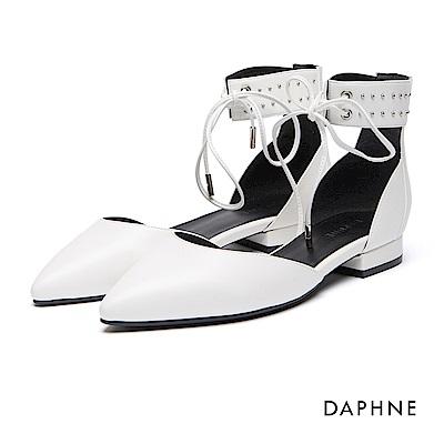 達芙妮DAPHNE 跟鞋-羅馬款綁帶鉚釘平底鞋-白