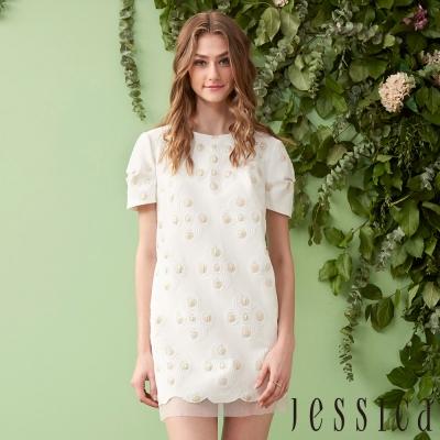 JESSICA - 幾何圖案刺繡造型洋裝