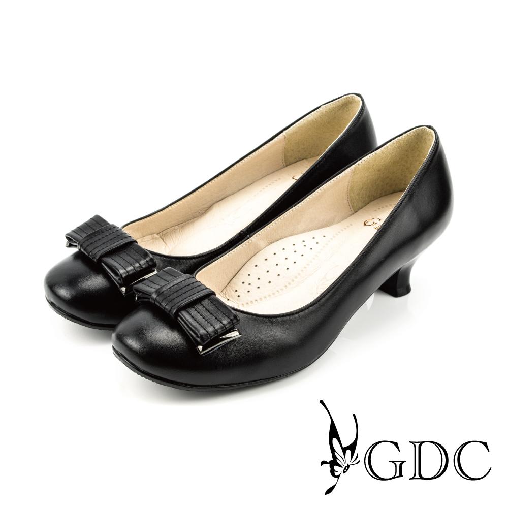 GDC-質感素面蝴蝶結牛皮粗低跟鞋-黑色