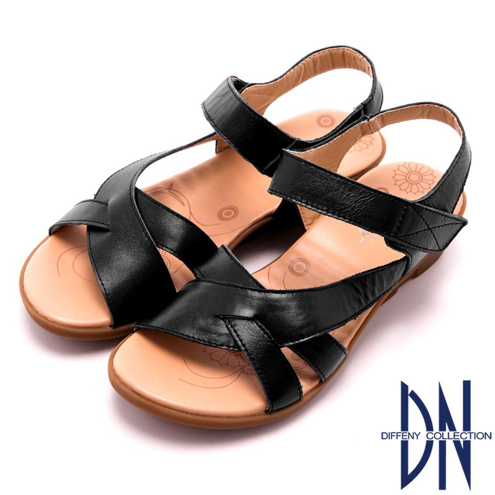 DN 簡單舒適 真皮交叉輕盈楔型涼鞋 黑