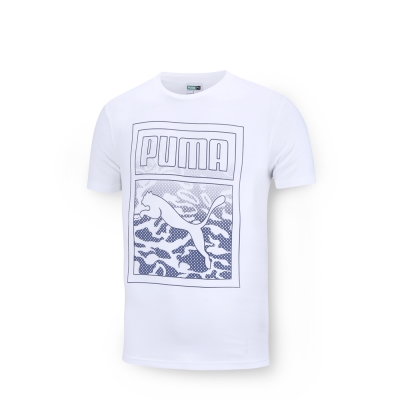 PUMA 男性流行系列ICONIC短袖T恤-白