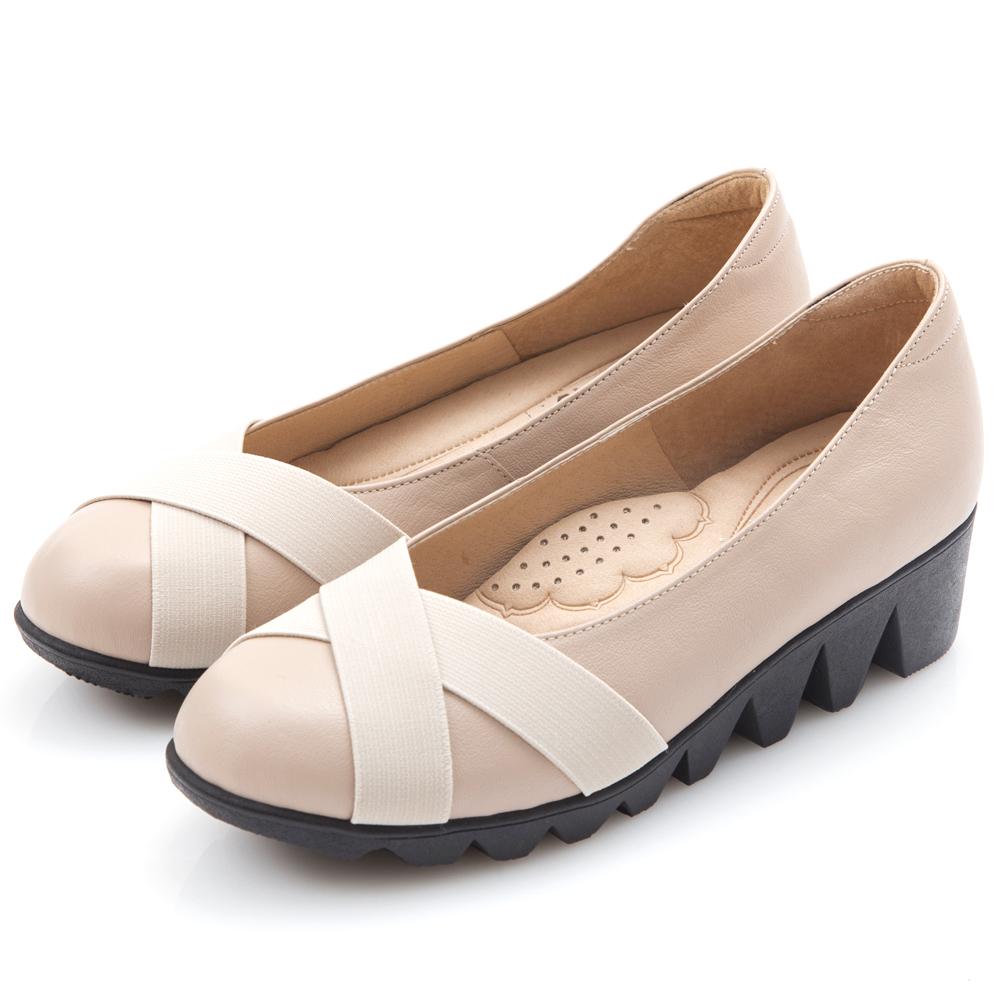 G.Ms. MIT系列-牛皮交叉鬆緊帶厚底包鞋- 風尚米