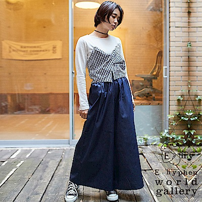E hyphen SET ITEM 層次拼布上衣+腰際鬆緊棉質寬褲裙