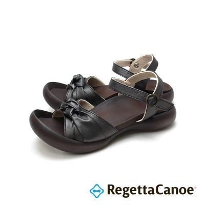 RegettaCanoe-扭轉蝴蝶結鞋面樂步鞋-經典黑