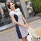 LIYO理優洋裝V領撞色洋裝(深藍)