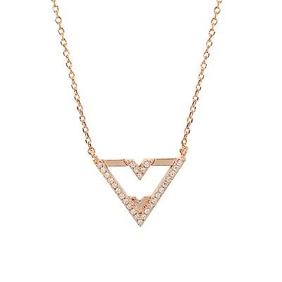 ASTRID&MIYU英國潮流品牌 倒三角V型水鑽項鍊 玫瑰金