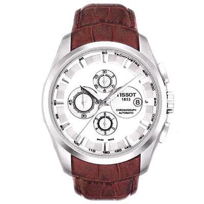 TISSOT Couturier建構師系列計時機械錶-銀白39mm