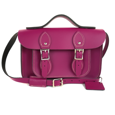 The Leather Satchel 英國手工牛皮劍橋包 肩背手提包 紅莓紫 11吋