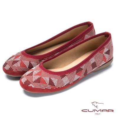 CUMAR台灣製造 珠珠裝飾舒適平底鞋-紅色