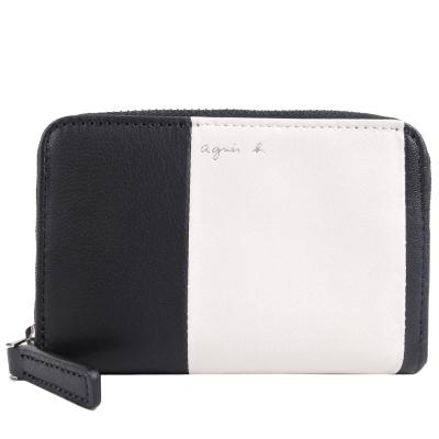 agnes b.草寫LOGO雙色拼接羊皮零錢包(黑白)