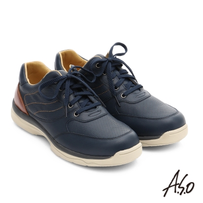 A.S.O 都會休閒 真皮超輕抗震綁帶休閒鞋 藍色