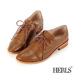 HERLS 復古文藝 全真皮兩穿德比牛津鞋-棕色