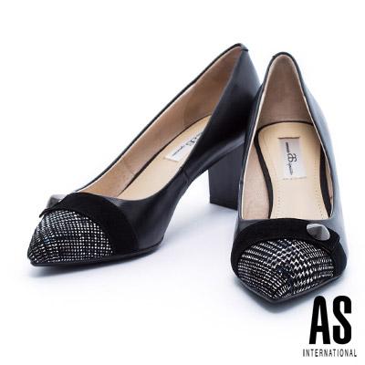 高跟鞋 AS 經典千鳥格紋麂皮拼接質感素面羊皮尖頭粗跟鞋-黑