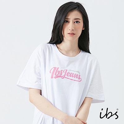 ibs美式草寫文字T恤-白-女