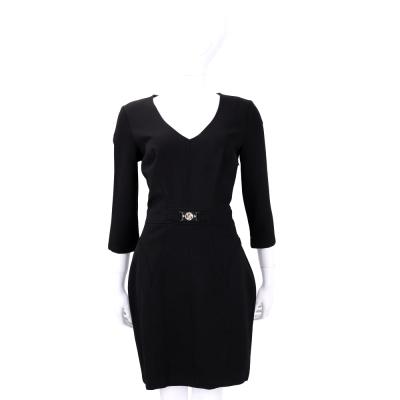 VERSACE 黑色V領七分袖洋裝