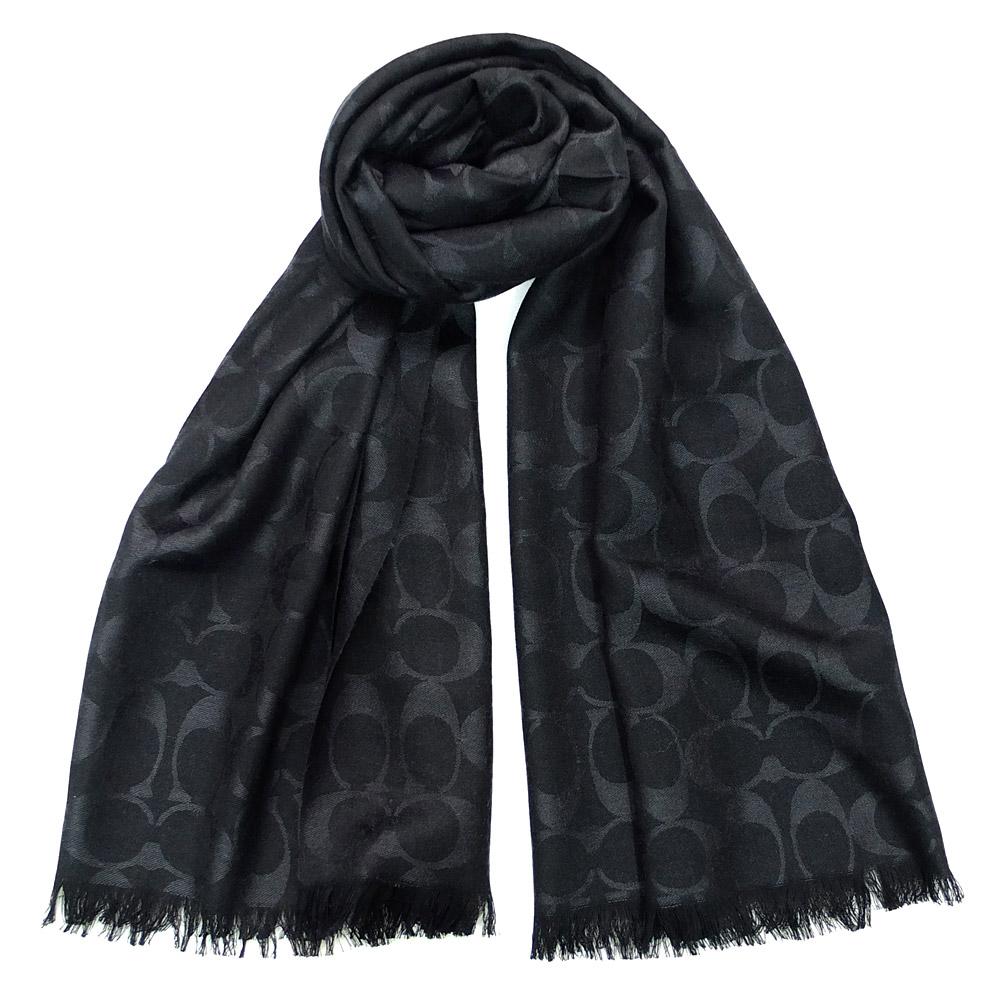 COACH黑色C Logo羊毛混絲寬版長圍巾(167x61)COACH