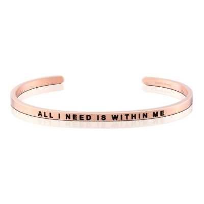 MANTRABAND 美國悄悄話手環 All I Need Is Within Me玫瑰金