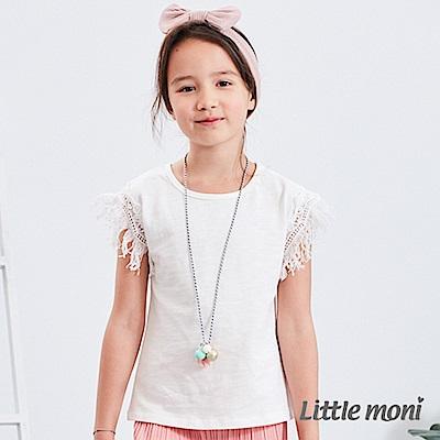 Little moni 流蘇袖拼接上衣 白色