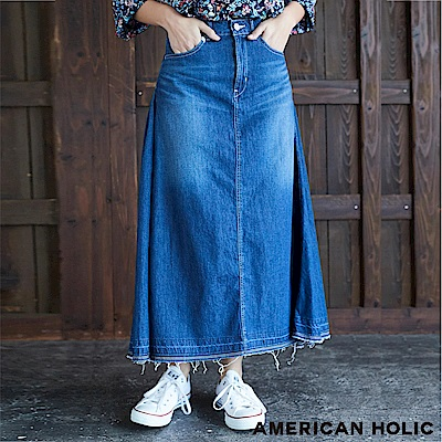 AMERICAN HOLIC 喇叭剪裁下擺不修邊牛仔裙