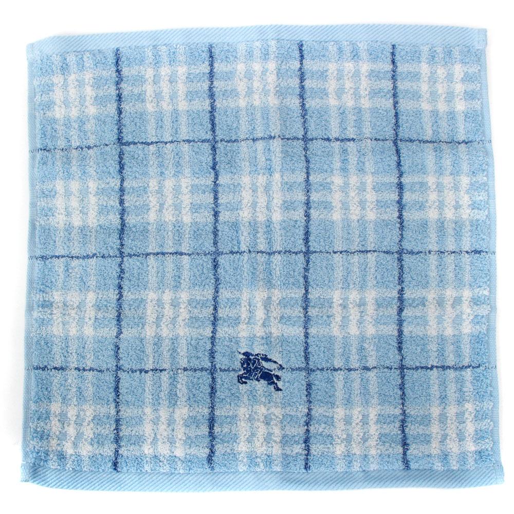 BURBERRY 經典正格紋戰馬刺繡短毛巾-水藍