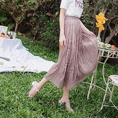 優雅仿真絲壓褶長裙-OB大尺碼
