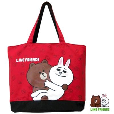 LINE FRIENDS  熊大帆布托特袋(紅)LI5449
