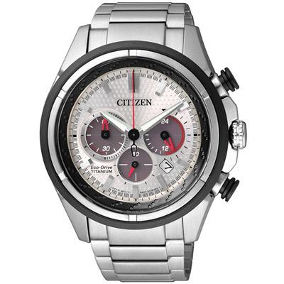 CITIZEN 光動能 分秒必爭 三眼計時腕錶(CA4241-55A)-銀/43mm