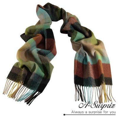 A-Surpriz-混色長格厚織純羊毛圍巾-彩色系