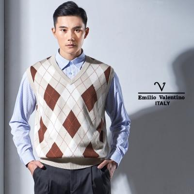 Emilio Valentino 菱格紋V領毛衣背心_卡其(67-1Y2050)