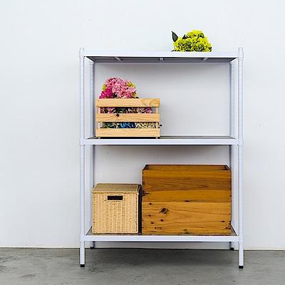 dayneeds鐵木藝匠三層烤白收納層架90x45x120cm含木板
