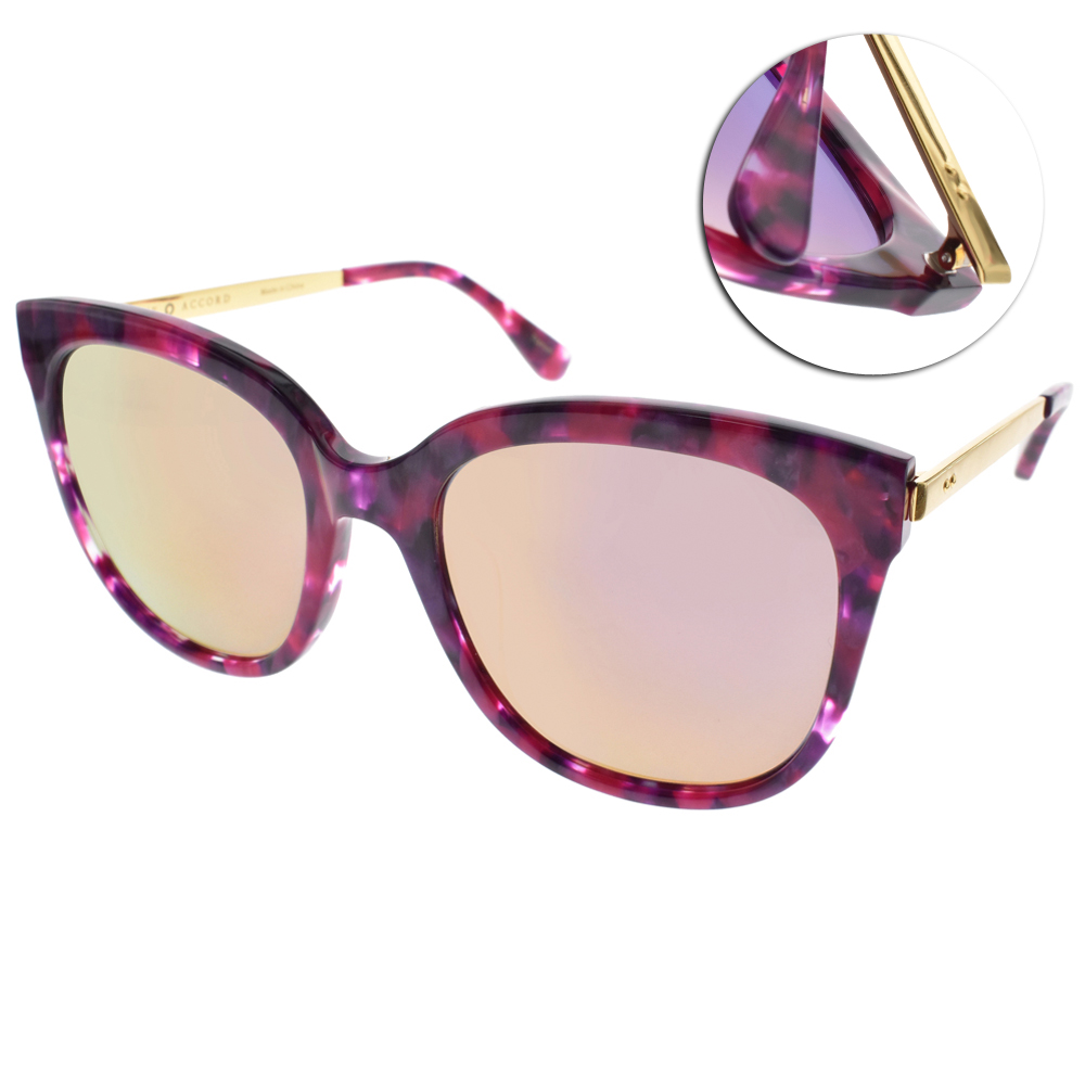 NINE ACCORD太陽眼鏡 韓系必備款/嫣紫紅-粉水銀#BETTA-MS C04