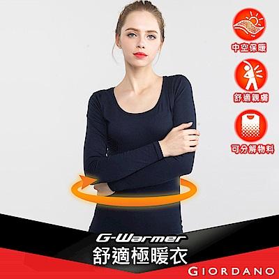 GIORDANO 女裝G-Warmer彈力舒適圓領極暖衣 - 02 標誌海軍藍