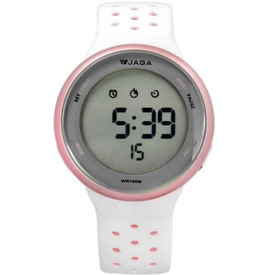 JAGA 捷卡  電子運動計時鬧鈴冷光照明透氣矽膠手錶-白粉色/43mm