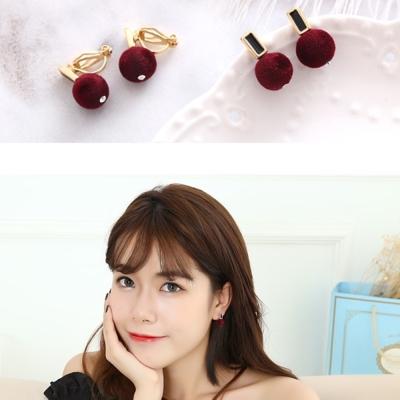 梨花HaNA-無耳洞酒紅麂皮小圓扣耳環夾式