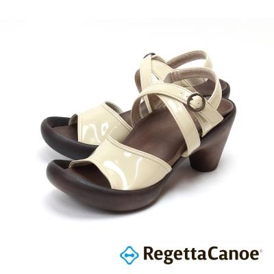 RegettaCanoe-漆亮皮踝帶交叉樂步鞋-象牙白