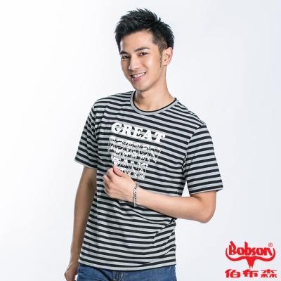 BOBSON 男款印圖短袖上衣(黑灰22050-88)