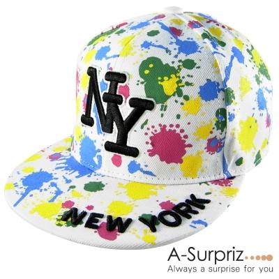 A-Surpriz 噴墨藝術塗鴨NY棒球帽(實搭白)