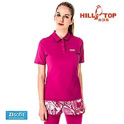 【hilltop山頂鳥】女款吸濕排汗抗UV彈性POLO衫S14FE1-果醬紫