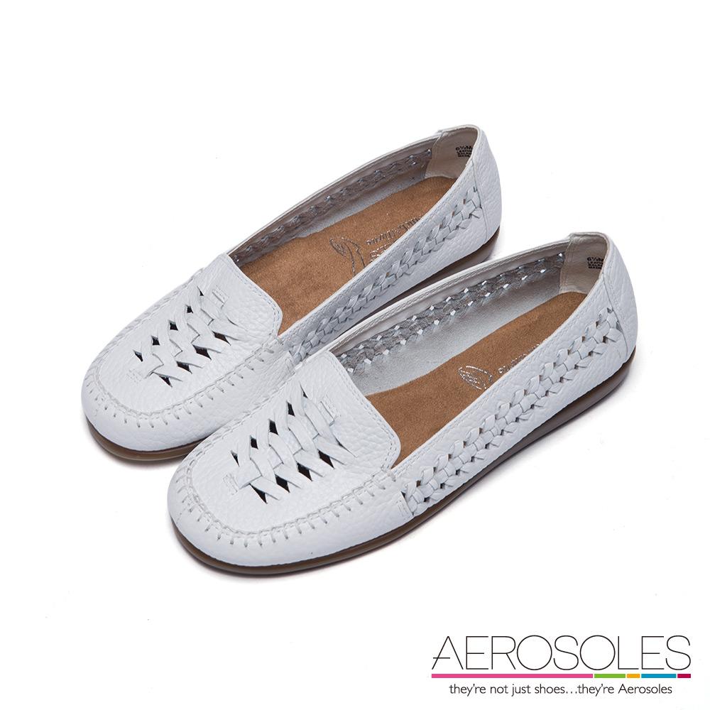 AEROSOLES 紳士典藏交叉鏤空魚骨編織樂福鞋~典雅白色