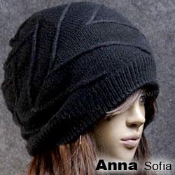 AnnaSofia 立體波線 雙面戴針織帽(酷黑)