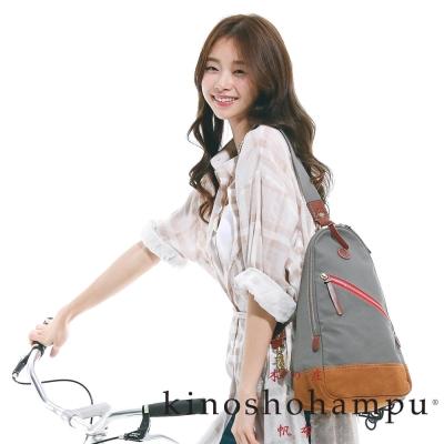 kinoshohampu-單車旅行系列-斜肩三角拉鍊後背包-灰色