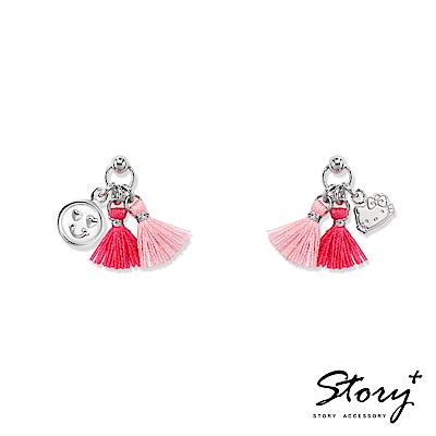 STORY-PinkHolic不對稱流蘇純銀耳環-HelloKitty款