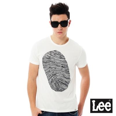 Lee 指紋印花短袖圓領T恤-男款-白