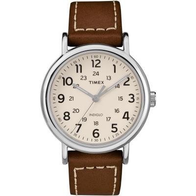 TIMEX天美時Weekender週末系列復刻手錶-白x咖啡40mm