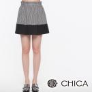 CHICA 千鳥格拼接傘狀短裙