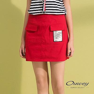 OUWEY歐薇 標語造型俏麗棉質短裙(藍/紅)