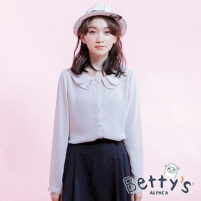 betty's貝蒂思 花瓣領點綴鑽飾開釦雪紡襯衫(卡其)