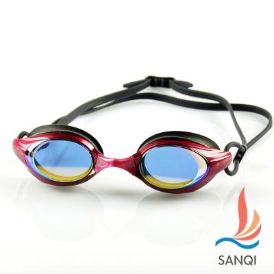 SANQI三奇 夏日必備抗UV防霧休閒泳鏡(8300-紅F)