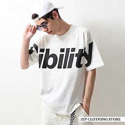 寬版短袖T恤大字LOGO印刷(3色) ZIP日本男裝